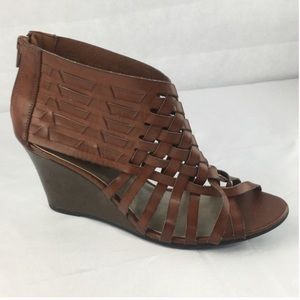 American Eagle Wedge Sandals Brown Size 10 AEO